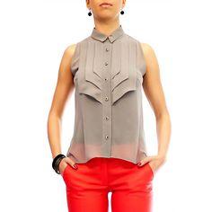 Grey Blouse Chiffon Shirt Chiffon Top by HannaBoutiqueDesign Chiffon Shirt, Chiffon Tops, Fashion Details, Look Fashion, Mode Top, Grey Blouse, Work Blouse, Mode Inspiration, Mode Style