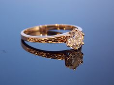 Victorian Rose Gold European Cut Six Prong Carved Floral Solitaire Antique Engagement Ring Simple RGDI1002N. $2,185.00, via Etsy.