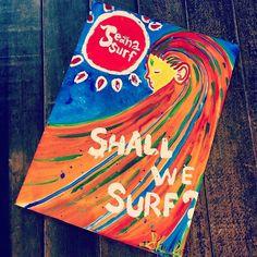 Shall We Surf? Seanasurf Original Art  原画は大きいですがショップにてポストカードサイズで販売中  #沖縄 #恩納村 #seanasurf #雑貨#ちょっとした#お土産 #沖縄大好#art#surf#okinawajapan #picture#instagood#instalike#ポストカード#surfergirl#58号線#沖縄サーフショップ#絵描