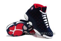 check out 41d11 3f881 Girls Air Jordan 13 Suede Dark Blue Red-White For Sale Cheap To Buy 3A32Af