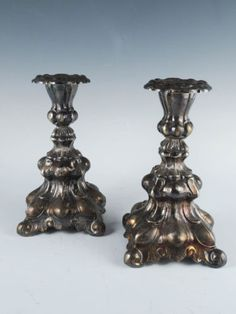 Elegant-Antique-19c-Ornate-Pair-Danish-Rococo-Silver-SP-Candlestick-Holders