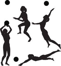 Vectores libres de derechos: Volleyball silhouette collection