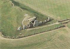 An aerial picture of West Kennet Long Barrow.  I based the tomb my characters use a time-travelling 'portal' on this.