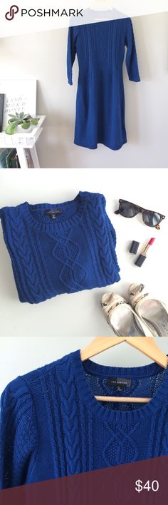 🍁SALE! Royal Blue Cotton Sweater Dress Beautiful, rich blue 100% cotton sweater dress, so excellent for fall with tights and riding boots! This one is made for the tall ladies, but could also work for shorter women as a midi-length. Pit to pit: 18in, shoulder to hem: 39in. Gently worn, excellent condition. The Limited Dresses