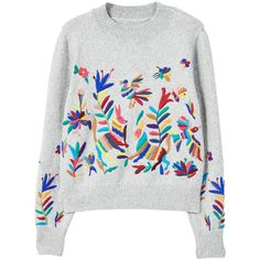 MANGO Floral embroidery sweater ($100) ❤ liked on Polyvore featuring tops, sweaters, medium heather grey, knit top, long sleeve tops, knit sweater, mango sweater and extra long sleeve sweater