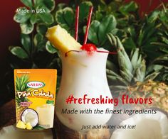 Refreshing drinks, made with the finest ingredients. Piña Colada. Aguas Frescas