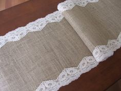Burlap table runner with scalloped lace wedding by DaniellesCorner, $21.00