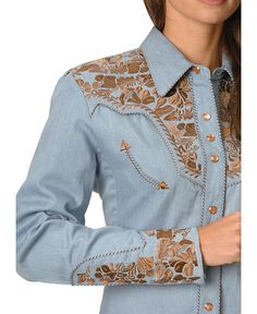Scully Floral Embroidered Blue Retro Western Shirt