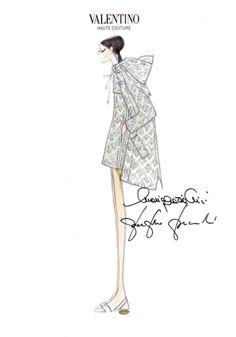 Fashion illustration - chic fashion sketch for Valentino Haute Couture