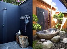 An outdoor shower is a great place to rinse off after a dip in the lake, a swim in the pool, or a trip to the beach. The outdoor shower is definitely part Outdoor Bathrooms, Outdoor Showers, Outdoor Baths, Outdoor Kitchens, Outdoor Spaces, Outdoor Toilet, Camping Toilet, Stone Bathroom, Modern Bathroom