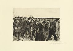 Käthe Kollwitz. March of the Weavers (Weberzug) from the series Weaver's Revolt (Ein Weberaufstand).// This reminded me of the stories of my great-great grandfather that I've heard. He had to lie about work experience and then travel several towns over to get work as a miner. Many of the young men did in his town. Although this is a revolt, the people in the photo have a worn down, tired posture of hard working people. There is also a woman and child in the front suggesting this is for…