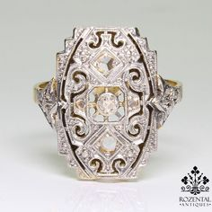 Antique Art Deco 18k Gold Diamond Ring