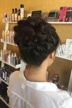 curly updo piled high for this beautiful client | hair by goldplaited | #updo #promhair #prom #hairstyle