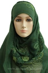 Oblong Hijab Maxi Embroidered-Green
