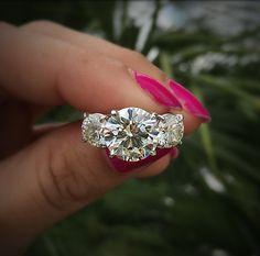6.21ct 3 Stone Round Brilliant Diamond Engagement Ring