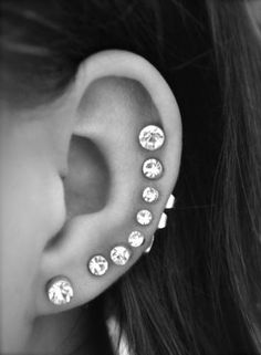 Crystal Ear Piercing Ideas with 16G Crystal Barbell Studs