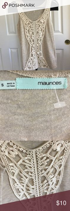 Laced matrices tan tank top Size Small, pretty laced detailing, would be cute under a jacket/ Cardigan. We accept offers! ❤️❤️ Maurices Tops Tank Tops