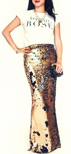Gold sequin maxi skirt http://rstyle.me/n/r3givnyg6