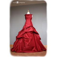 Red Wedding Dress Ball Gown, Silk Taffeta, Custom Made to Order in... ($1,650) ❤ liked on Polyvore featuring dresses, robe, drape neck dress, silk taffeta dress and red dress