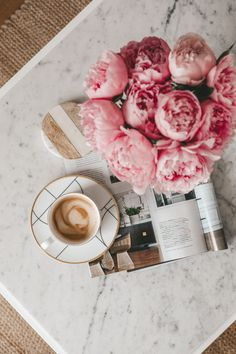 Morning Coffee Ramble Pinspiration Stripes and Vibes pink peonies coffee latter cappuccino coffee table morning light minimal design hygge livin