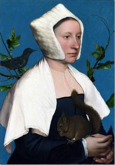 A Lady with a Squirrel and Starling (Anne Lovell?) - Hans Holbein il giovane
