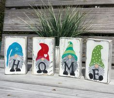Gnome set of 4 HOME blocks shelf sitter farmhouse decor Crafts To Make, Arts And Crafts, Diy Crafts, Gnome Paint, Gnome House, Christmas Gnome, Craft Fairs, Farmhouse Decor, Vintage Farmhouse