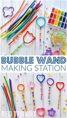 """Crafts Ideas Bubble Wand Making Station - This is how EASY it is to set up a """"Bubble Wand Making station"""". Let the kids get creative and see what they come up with. Great activity for of July, Play Dates or for those loooong Summer afternoons. Bubble Activities, Preschool Crafts, Toddler Activities, Preschool Activities, Fun Crafts, Indoor Activities, Toddler Preschool, Family Activities, Nature Crafts"""