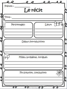 Nice form for basic summaries of beginning French readings. French Teaching Resources, Teaching French, Teaching Writing, Writing Activities, Writing A Book, Story Starter, French Flashcards, High School French, Core French