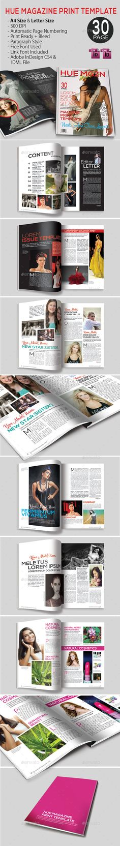 Hue Magazine Template | #magazinetemplate | Download: http://graphicriver.net/item/hue-magazine-template/9630841?ref=ksioks