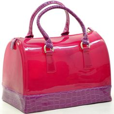 Pink Purple Transparent Jelly Handbag Purse Croco Print Fashion Candy Satchel #Fashion #Style #Deal