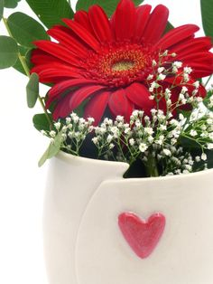 Ceramic vase  Red Heart  Wheel Thrown  Altered by servantceramics