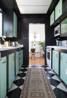 Black and green kitchen