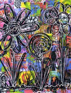 Interesting technique of flowers doodled on a print of a collage.  #doodles #drawing #flowers