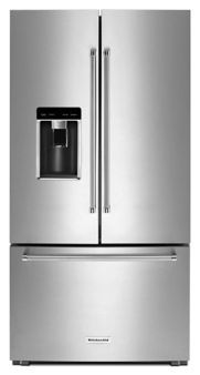 """Kitchen Aid 23.8 cu. ft. 36"""" Counter-Depth French Door Platinum Interior Refrigerator (KRFC704FSS)"""