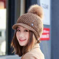 Women Girls Winter Wool Knit Peaked Hat Beret Plus Neck Warmer Casual  Outdoor Cycling Cap d5b2fe0faff4