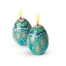 A set of 2 floral egg candles, handmade by artisans in Swaziland. The artisans create the candles using the ancient technique of 'millifiore Birthday Candles, Home Accessories, Candle Holders, African, Egg, Shopping, Eggs, Home Decor Accessories, Porta Velas