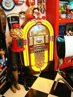 juke box and chewing gum machine