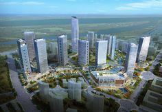 Aerial Rendering NBBJ Urban Design Nanjing China