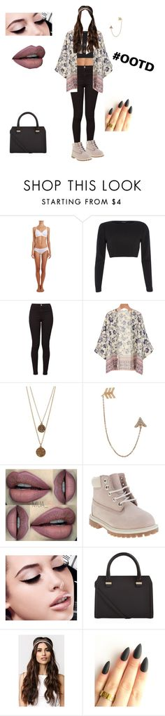"""Outfit Of The Day"" by depressedandbroken ❤ liked on Polyvore featuring Hanro, River Island, American Apparel, Bee Charming, Bee Goddess, Timberland, Maybelline, Victoria Beckham, With Love From CA and women's clothing"