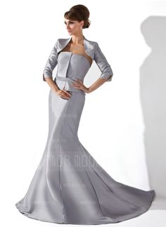 Mermaid Strapless Court Train Taffeta Mother of the Bride Dress (008006234)