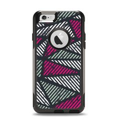 The Abstract Striped Vibrant Trangles Apple iPhone 6 Otterbox Commuter Case Skin Set