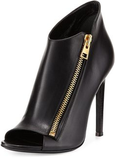 TOM FORD Calf Leather Side-Zip Bootie, Black