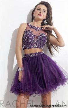 Bead Lace Two Piece Short Purple Homecoming Dresses