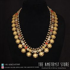 Set in silver with gold plated necklace studded with semi-precious stones. Trendy Jewelry, Jewelry Art, Jewelery, Silver Jewelry, Jewelry Design, Gold Plated Necklace, Silver Necklaces, Antique Jewellery Designs, Silver Jewellery Indian