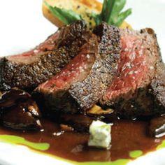 Disney recipe: Pan-Roasted New York Steak with Shiitake Mushroom Ragout and Gorgonzola-Spinach Bruschetta (45 minutes)