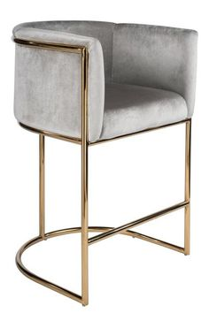 Gold 26 Counter Chair is part of Counter chairs Materials Stainless steel, velvet Measurements 23 5 w x 22 d x 35 5 h, 30 pounds Seat measurements 19 5 w, Arm 10 h, Back 10 5 h Foo - Furniture, Home Decor Kitchen, Modern Furniture, Interior, Floor Seating, Chair, Home Decor, Counter Chairs, Furnishings