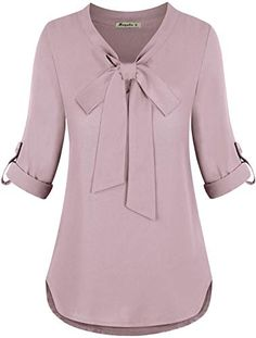 Looking for Moyabo Womens Bow Tie Neck Roll-Up Long Sleeve Casual Office Chiffon Blouse Top ? Check out our picks for the Moyabo Womens Bow Tie Neck Roll-Up Long Sleeve Casual Office Chiffon Blouse Top from the popular stores - all in one. Women Bow Tie, Indian Clothes Online, Stylish Dresses, Chiffon Tops, Chiffon Fabric, Chiffon Shirt, Blouse Designs, Models, Clothes For Women