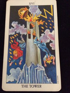 "The Tower from the Radiant Rider Waite deck updated by Virginijus Poshkus and published by U.S. Games.  ""All things in this world are impermanent. They have the nature to rise and pass away. To be in harmony with this truth brings true happiness."" -Buddhist chant #Tarot #TarotSingapore #Quote"