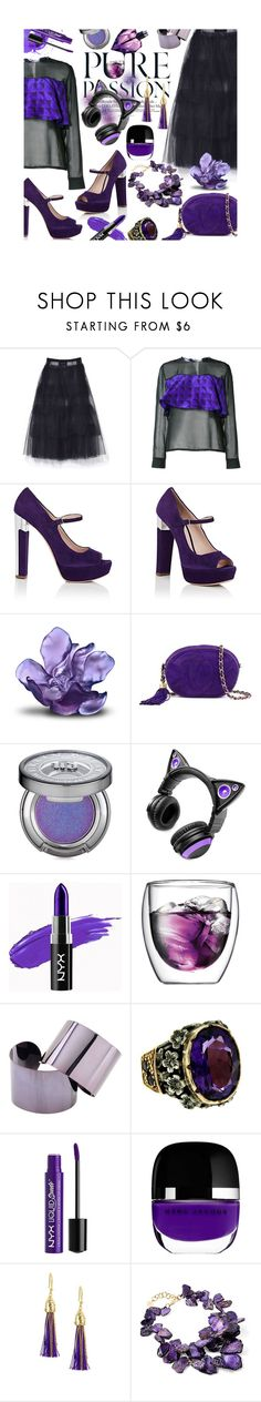 """Deep Purple"" by mia-christine ❤ liked on Polyvore featuring Simone Rocha, Maki Oh, Miu Miu, Daum, Chanel, Urban Decay, Brookstone, NYX, Bodum and Maison Margiela"
