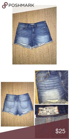 "Free People Denim Shorts Like•New Free People Denim Shorts • Size 28 • Intentional distressing through out • Measures approx; Waist 16"" Length 3"" Rise 10""     • Excellent condition Free People Shorts Jean Shorts"